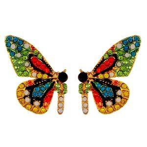 Eye Candy Flutter Green Crystal Butterfly Earrings